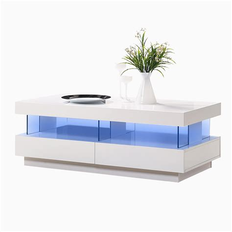 coffee table with led lights white gloss coffee table led light au2052d