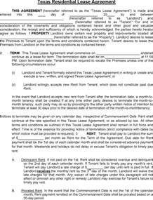 free texas residential lease agreement pdf 7 page s