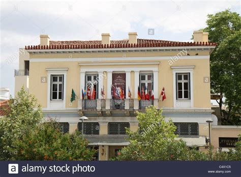 buy a house in athens greece house in athens greece near the acropolis at the time exhibiting stock photo