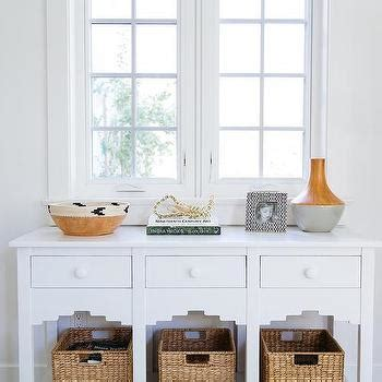 console table with wicker baskets console table design ideas