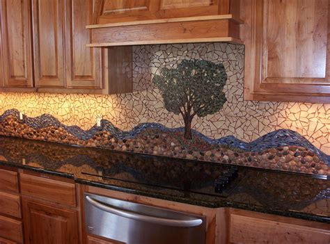 Mosaic Tile Kitchen Backsplash by River Rock Backsplash Give A New And Natural Accent To