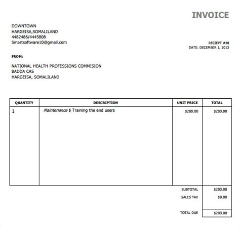 simple excel invoice template sle simple invoice template 9 free