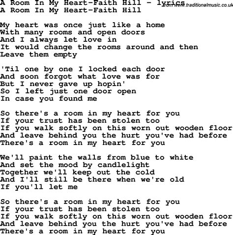 room lyrics song lyrics for a room in my faith hill