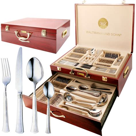 95pc stainless steel cutlery set wooden case canteen