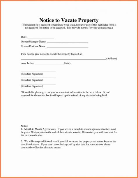 template letter notice rented property landlord notice to vacate template business