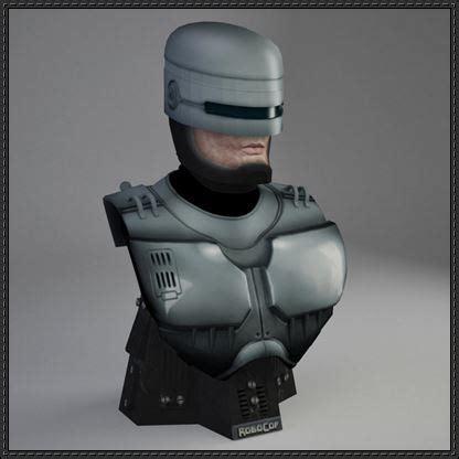 3d Origami Cyborg robocop bust free papercraft