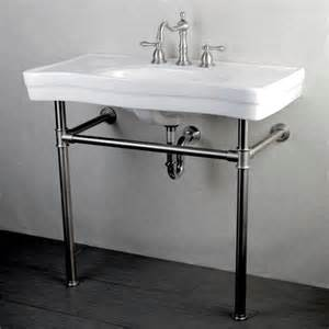 Imperial vintage 36 inch satin nickel pedestal center bathroom sink
