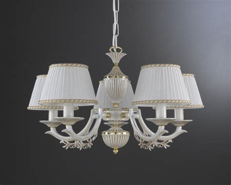 Chandeliers With L Shades 5 Lights White Brass Chandelier With L Shades Reccagni Store