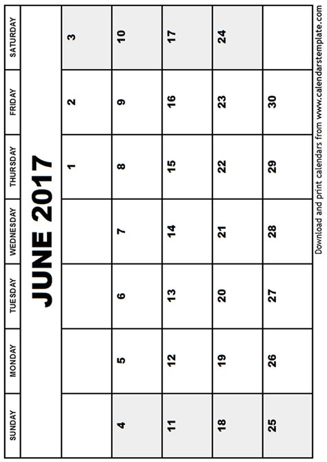 printable calendar to write on 2017 june 2017 calendar template