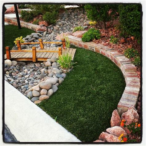 dry river bed landscaping bridge and dry river bed front and back yard ideas