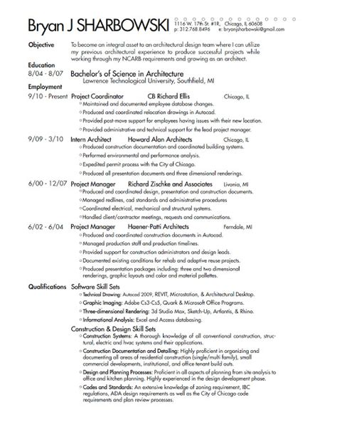architect interrupted 2011 resume
