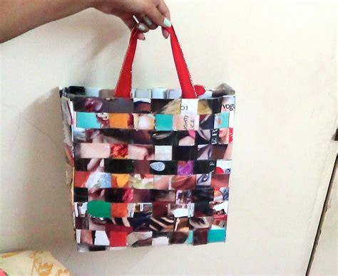 How To Make Paper Out Of Magazines - recycled woven magazine bag diy with