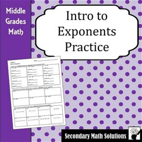 Intro To Exponents Worksheet Pdf