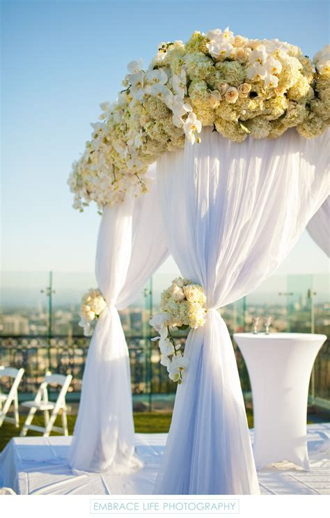 Los Angeles Wedding Chuppah Covered in White Flowers