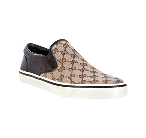 Slip On Gucci 1 gucci brown gg canvas leather detail slip on sneakers in brown for lyst