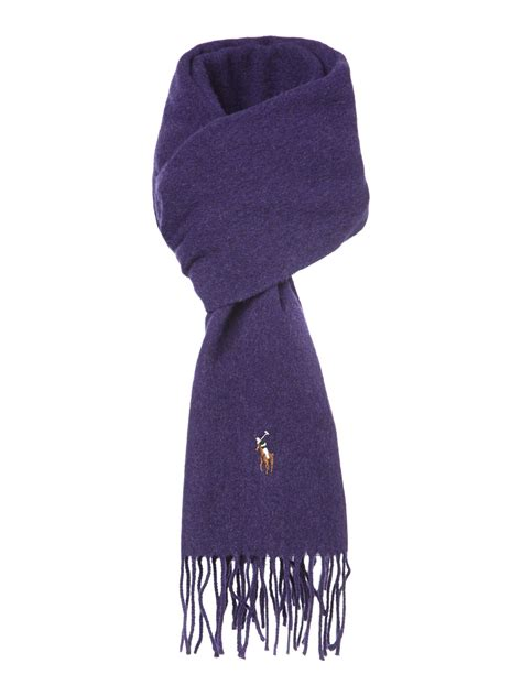 polo ralph classic lambswool scarf in purple for