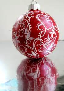 red and white christmas ornament hand painted by