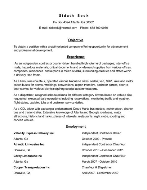 sample resume for limousine driver 1 - Format Of Resume Pdf