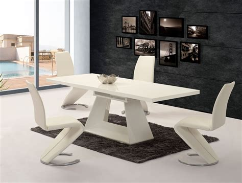 White Extending High Gloss Dining Table 6 Z Chairs White Chairs For Dining Table