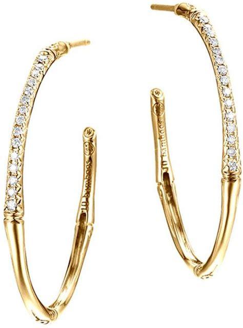Allen Dons Gold Ribbed Hoop Earrings A La Hilary Duff by Hardy Bamboo 18k Gold Small Hoop Earrings In