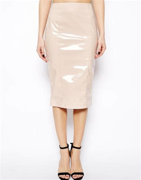 Patent Handheld Shopper From Asos by Asos Pencil Skirt In Patent Pu In Pink Lyst