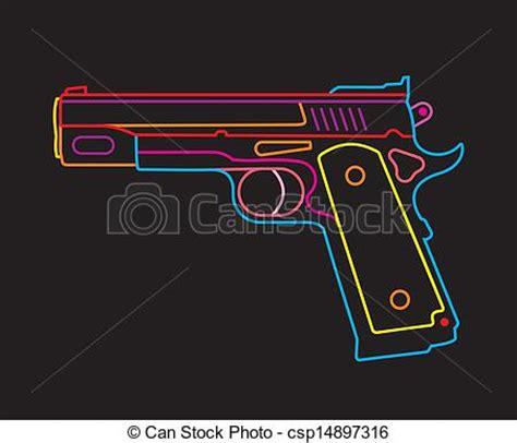 vector clip of handgun neon sign modern pistol