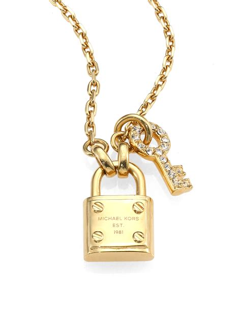 Key Necklace lyst michael kors padlock key pendant necklace in metallic