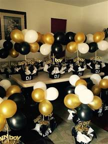 black and white gold baby shower decorations