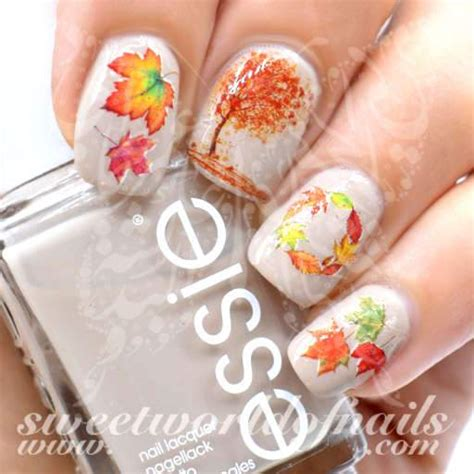 autumn fall nail art trees  leaves nail water decals