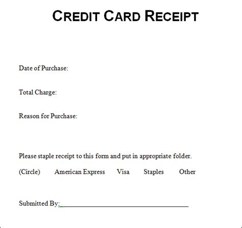free credit card receipt template sle credit card receipt credit card receipt sle