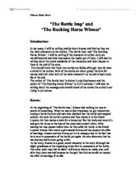 theme essay the rocking horse winner the rocking horse winner analysis essay report564 web