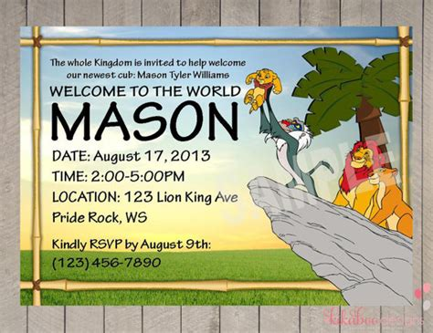 items similar to personalized lion king baby shower