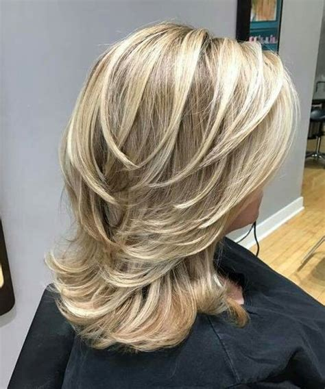medium hair freeze style hot medium blonde layered hairstyles for women with thick hair