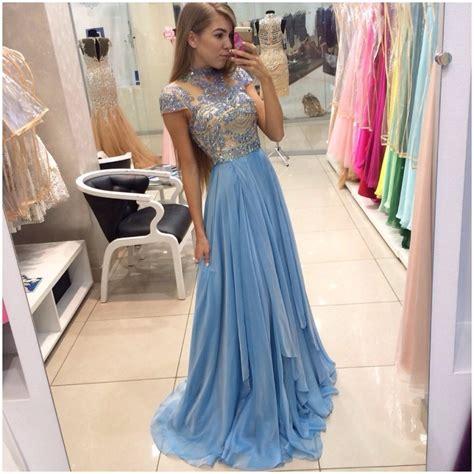 Longdress Basic Sky ulass simple prom dress sleeve lace