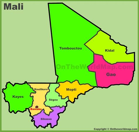 map of mali administrative divisions map of mali
