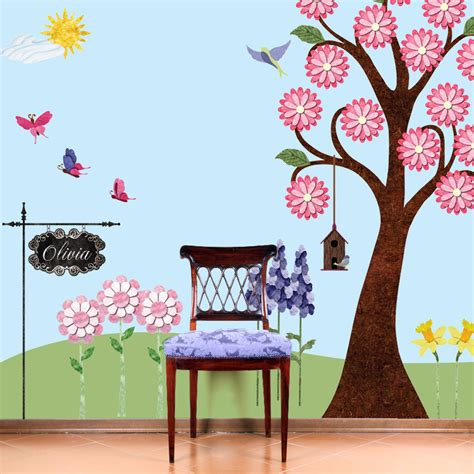 Garden Wall Sticker flower garden wall sticker decals for room by