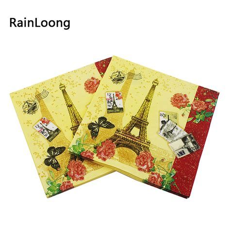 Tissue Napkin Eropa Decoupage 3 rainloong eiffel tower paper napkins event supplies tissue napkin decoupage supply