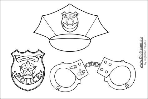 badge template for preschool printable policeman hats to color themed birthday