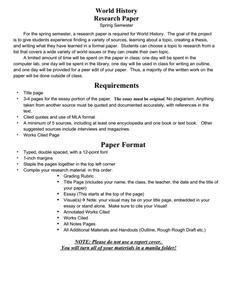 Sle Research Paper About Planets by World History Research Paper 9th 11th Grade Activities Project Lesson Planet