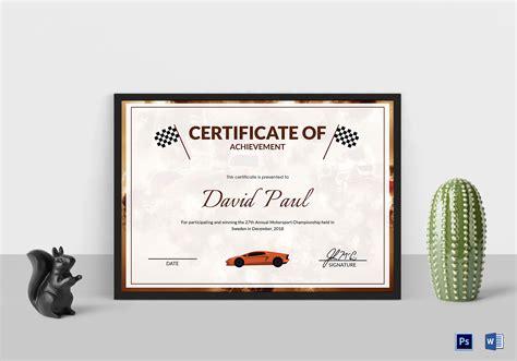 motosport templates motorsport chion certificate design template in psd word