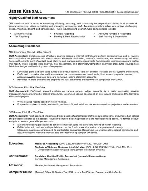 Staff Resume Format Exle Staff Accountant Resume Free Sle