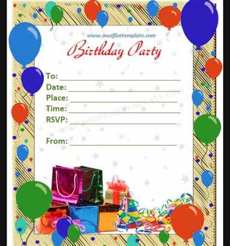 50 Printable Birthday Invitation Templates Sle Templates Microsoft Word Birthday Invitation Templates