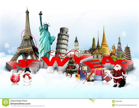 Happy New Year Lets Visit Asia by Happy New Year Concept Stock Image Image 35287881