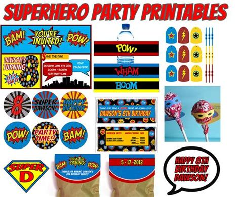 printable superhero party decorations superhero party decorations party favors ideas