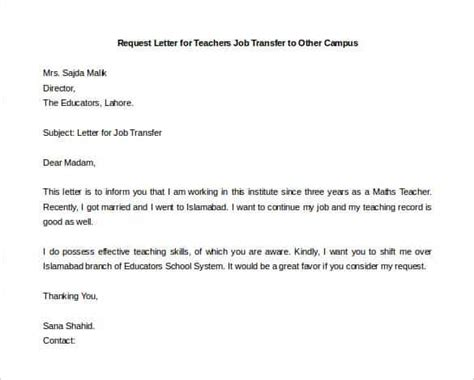 Transfer Letter Format From One Place To Another 33 transfer letter templates free sle exle