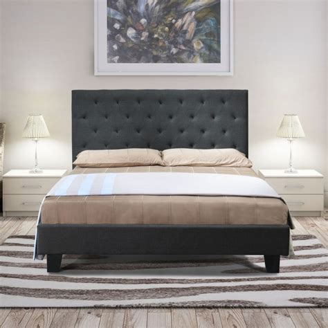 fabric bed frame queen chester queen size fabric bed frame in charcoal buy queen bed frame