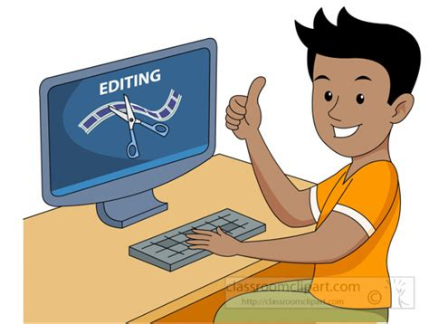clipart editor occupation editing film and video on computer clipart
