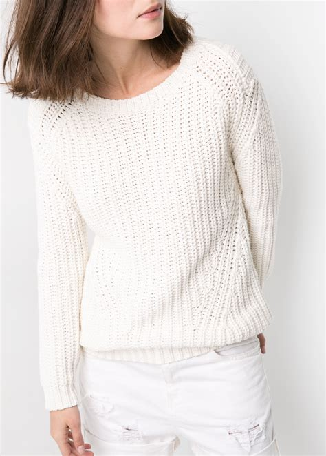Chunky Knit Sweater white chunky knit sweater fit jacket