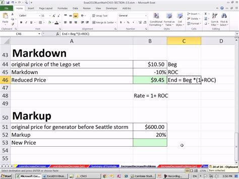markdown template excel 2010 business math 33 markup and markdown