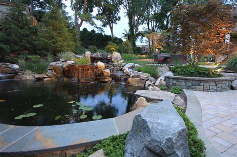 patio koi pond waterfall koi pond design in vienna virginia surrounds